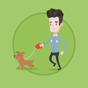 Joven caminando con su perro ilustración vectorial