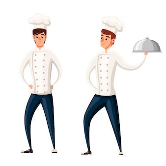 Joven chef. dos hombres.