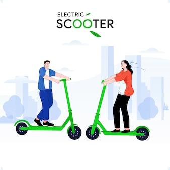 Joven y chica montando patinete eléctrico con la felicidad en su rostro cruzando el parque de la ciudad. diseño de ilustración