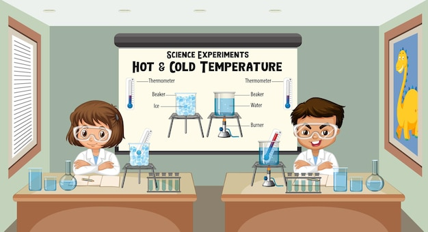 Joven científico explicando experimentos científicos de temperatura fría y caliente
