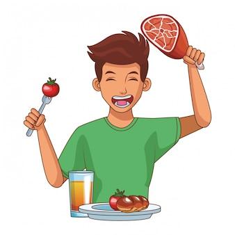 Joven y comida sana