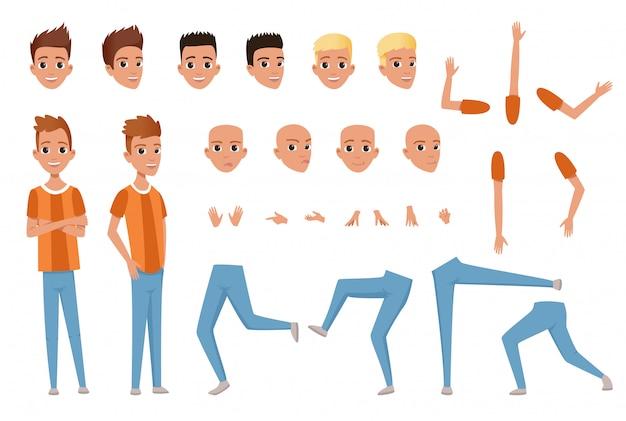 Joven constructor de personajes con partes del cuerpo piernas, brazos, gestos con las manos. expresión de la cara enojada, insatisfecha, sorprendida y tranquila. chico de cuerpo entero. peinados con estilo. vector plano