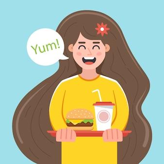 Joven contenta sostiene una bandeja con comida rápida. ilustración de personaje plano