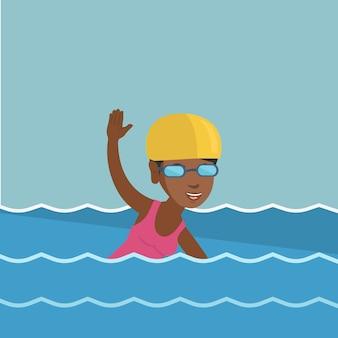 Joven deportista afroamericana nadando.