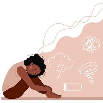 Joven deprimida infeliz sentada y abrazando sus rodillas. concepto de trastorno mental. ilustración de vector colorido en estilo de dibujos animados plana.