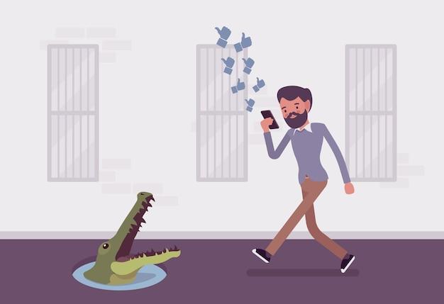Joven despreocupado caminando con teléfono, cocodrilo en hoyo