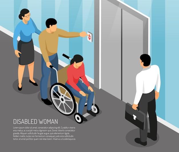 Joven discapacitada en silla de ruedas con acompañantes esperando ascensor isométrica