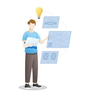 Joven diseñando sitio web o aplicación móvil