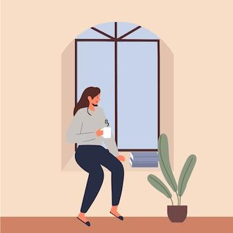 Joven disfruta de su café o té mira ventana y quédate en casa ilustración