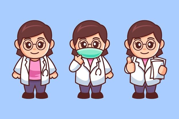 Joven doctora con personaje de dibujos animados de gafas