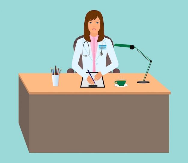 Joven doctora tomando pacientes. asesor médico sentado en la mesa. consultorio de medicina.