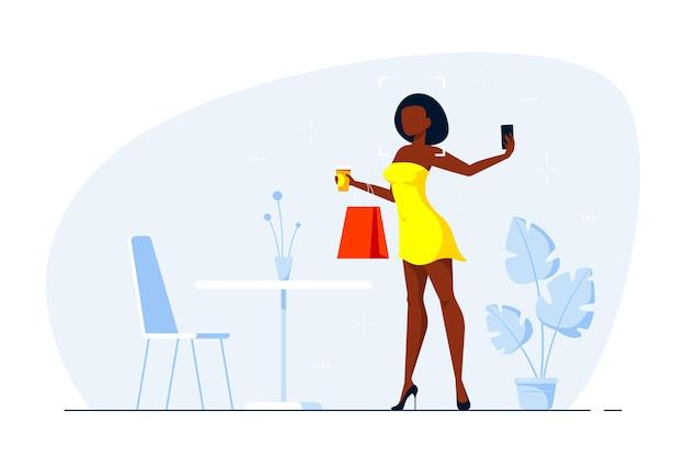 Joven elegante dama negra sexy haciendo selfie con teléfono inteligente, ilustración de arte de línea de estilo plano