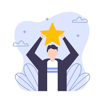 Joven empleado obteniendo premio estrella