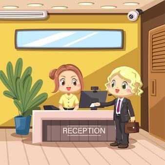 Joven empresaria de pie y mostrar una tarjeta a la mujer recepcionista se encuentra en el mostrador de recepción en personaje de dibujos animados