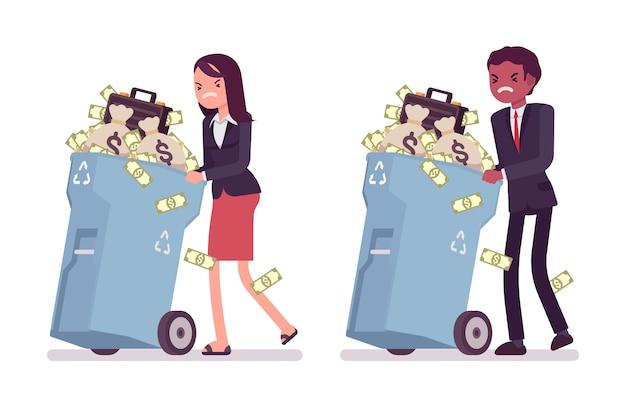 Joven empresario y empresaria empujando contenedores de basura con ruedas con dinero