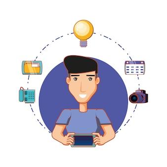 Joven empresario con iconos de redes sociales