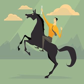 Joven empresario montando un caballo asustadizo