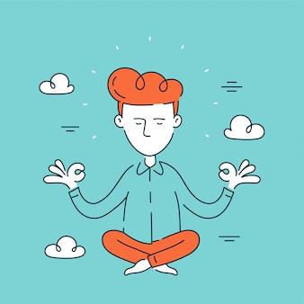 Joven empresario, oficinista se relaja y medita en el cielo en posición de loto