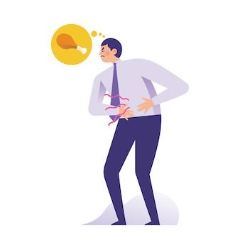 Joven empresario sosteniendo su estómago por hambre
