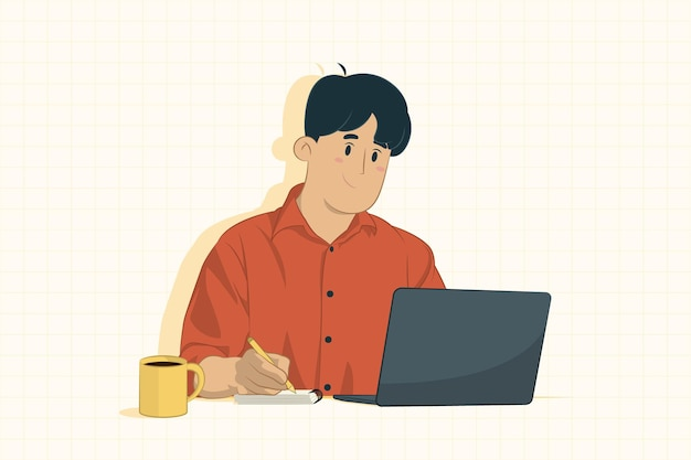 Joven empresario usando laptop y tomando notas