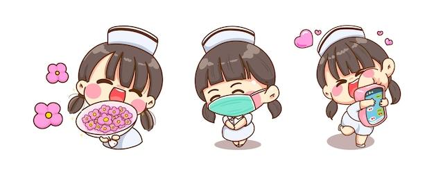 Una joven enfermera cara de sonrisa y feliz aislado