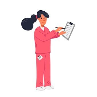 Joven enfermera en matorrales rosados con historial médico