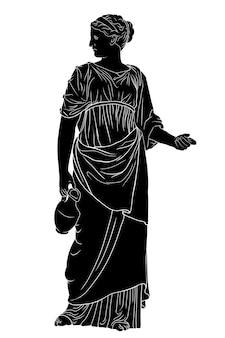 Una joven esbelta griega antigua se encuentra y sostiene una jarra de vino aislado sobre fondo blanco.