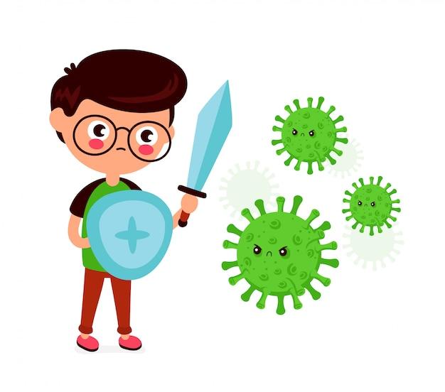 Joven con espada y escudo lucha con infección por coronavirus malo, microbacterias.