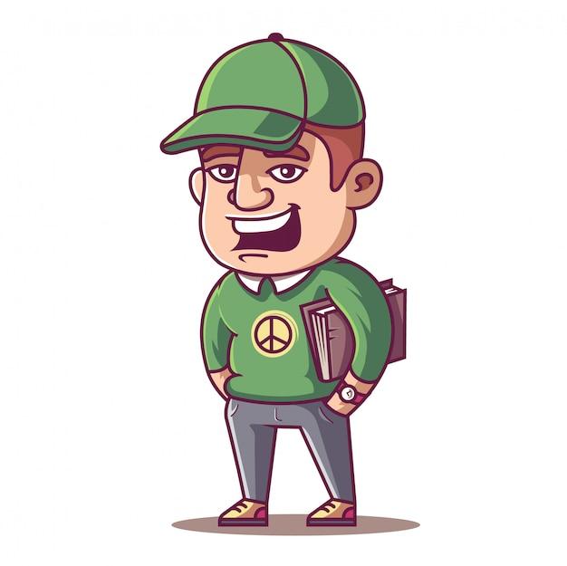 Joven estudiante masculino con una gorra y un libro en sus manos.