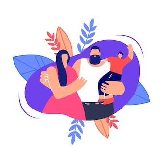 Joven familia abrazando ilustración plana