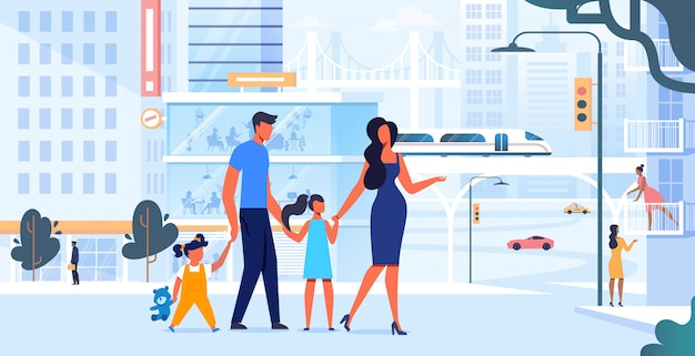 Joven familia en la ciudad a pie ilustración plana