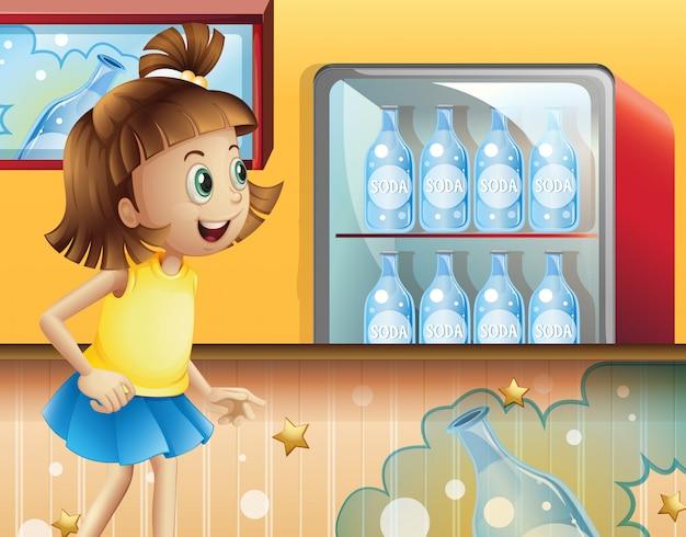Una joven feliz dentro de la tienda vendiendo refrescos