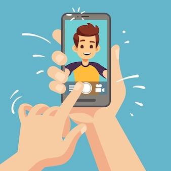 Joven feliz tomando foto selfie en smartphone. retrato de rostro masculino en la pantalla del teléfono celular. ilustración de dibujos animados