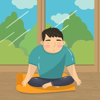 Joven haciendo yoga en posición de loto, hombre tranquilo meditando sobre el fondo de la ventana con ilustración de vista de verano, estilo de dibujos animados