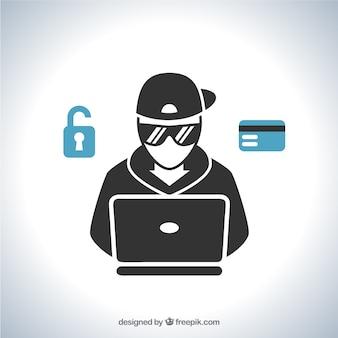 Joven hacker anónimo con diseño plano