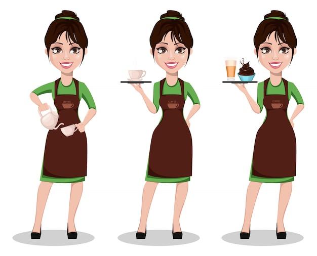 Joven hermosa mujer barista