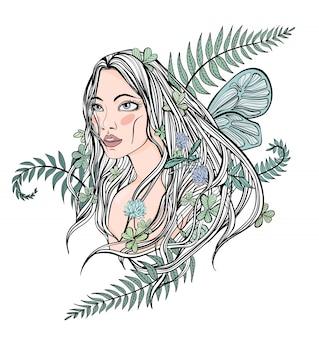 Joven hermosa mujer de pelo largo entre las plantas