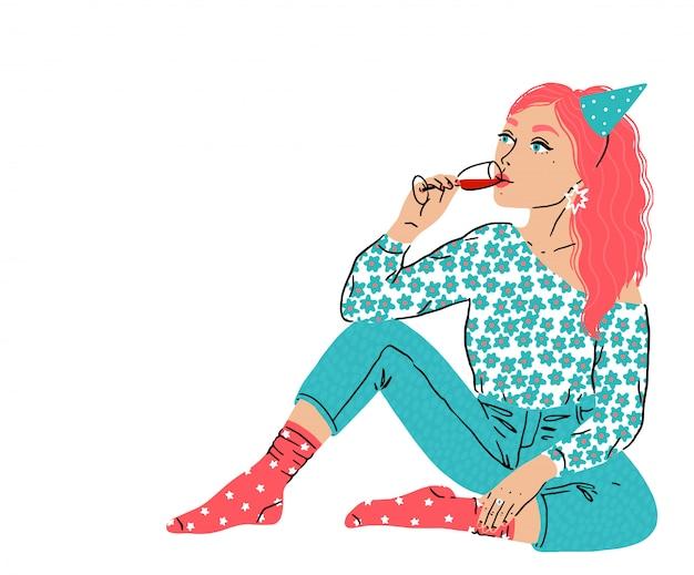 Joven hermosa mujer se sienta en una posición relajada y bebe vino tinto de un vaso. la niña pasa tiempo libre con alcohol. ilustración aislada