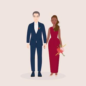 Joven hombre y mujer, pareja novia y novio en boda, vestido formal. ilustración vectorial de moda