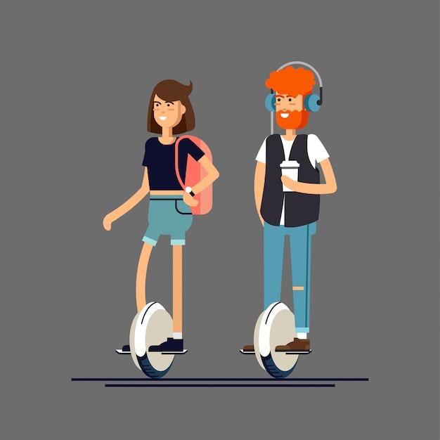 Joven hombre y mujer en scooter eléctrico mono rueda
