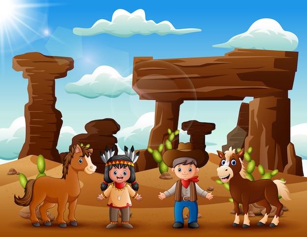 Joven india de dibujos animados y vaquero con animales en el desierto