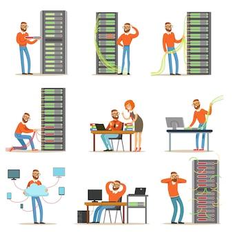 Joven ingeniero trabajando en la sala de servidores de red.
