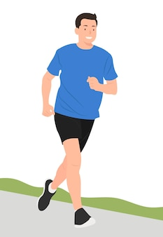 Joven, jogging, felizmente, aislado, blanco