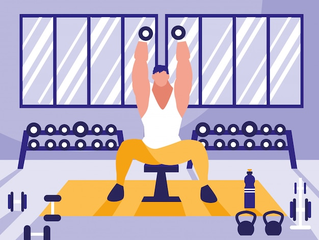 Joven levantando pesas en el gimnasio