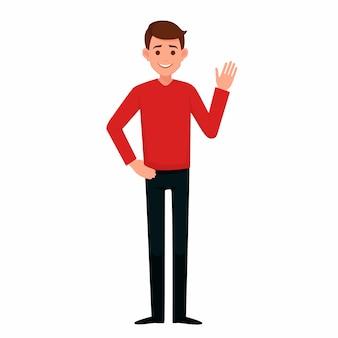 El joven levantó la mano con un gesto de bienvenida.