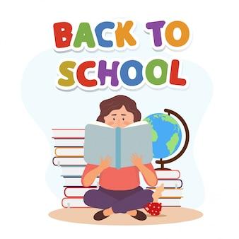 Joven leyendo personaje de mujer con libros. ilustración de educación bienvenido de nuevo al colegio