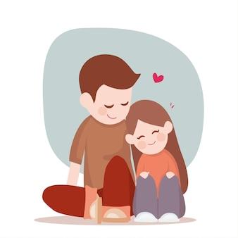 Joven linda pareja sentada, descansando en el piso, relación feliz