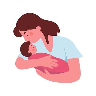 Joven madre abraza a su bebé con amor y afecto