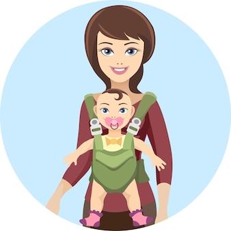 Joven madre y su bebé con cariño y amor.