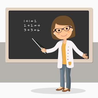 Joven maestra en la lección de matemáticas